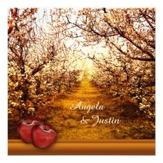 A romantic wedding invitation with an orchard theme