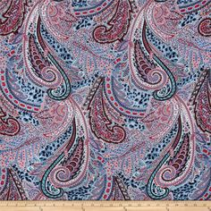 Rayon Voile Abstract Light Blue/Red/Multi from @fabricdotcom  This lightweight rayon voile fabric is light weight, semi sheer and has a soft hand. It is perfect for creating stylish peasant blouses, skirts, tunics and dresses. It can also be layered to give more fullness to dresses and skirts. Colors include blue, navy, red, peach and black.