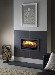 inset stove with fireplace surrounds - Google Search Slate Fireplace Surround, Inset Fireplace, Wood Burner Fireplace, Wood Burning Fireplace Inserts, Fireplace Built Ins, Bedroom Fireplace, Modern Fireplace, Fireplace Wall, Living Room With Fireplace