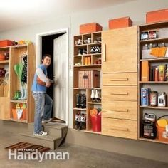 Organize garage clutter with this DIY storage center. You'll love the sturdy cabinets: #cluttergarage