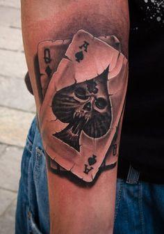 Amazing artwork by famous Victor Portugal at Victor Portugal Tattoo Studio, Krakow, Poland. Speciality - dark, realistic, biomechanical and skull tattoos. Poker Tattoo, Dice Tattoo, Card Tattoo, Free Tattoo Designs, Dragon Tattoo Designs, Cover Up Tattoos, Cool Tattoos, Tatoos, Time Piece Tattoo