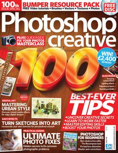 Photoshop Creative, Issue 100. We're celebrating this milestone issue of Photoshop Creative with our best-ever Photoshop tips of all time! Uncover secret editing tricks, speed up your workflow and revamp your photos with our 14-page special. There are pages and pages of Photoshop guides from practical tool workshops to exciting creative projects.