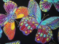 Timeless Treasures Large Butterfly Butterflies Multi Glimmer Black Fabric Yard