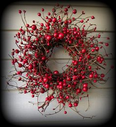 """15"""" Red Very Berry  Large Berry Pip Berry Wreath  - Made in SC"""
