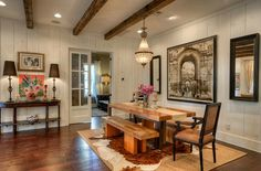 Modern Farmhouse For Sale in Austin – Kitchen Rugs sink Farmhouse Dining Room Rug, Country Kitchen Farmhouse, Modern Farmhouse Style, Fireplace Beam, Kitchen Rug, Ranch Kitchen, Kitchen Pictures, Beautiful Kitchens, Dining Area