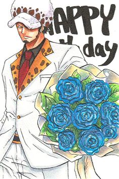 Trafalgar D. Water Law in suit with blue flowers One piece