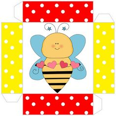 Cajitas para imprimir gratis de abejas y flores.