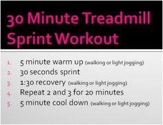 Hoping this can/will whip me into running condition. I've got the walking part dwn to a science lol. Love Fitness, Health Fitness, Sprint Workout, Cardio Workouts, Sprints On Treadmill, 30 Minute Cardio, Spinning Workout, High Intensity Interval Training, I Work Out