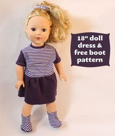 Tutorial  Dolly Dress and FREE Boot Pattern. Sewing Doll ClothesAmerican  Doll ClothesAmerican Girl ... 79c394d5a5aa
