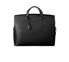 """Hermes men's document holder in black evergrain calfskin, leather interior Measures 15"""" x 12.2"""" x 4.7"""" Curved front  Three compartments including exterior pockets Silver and palladium plated metal zipper closure"""