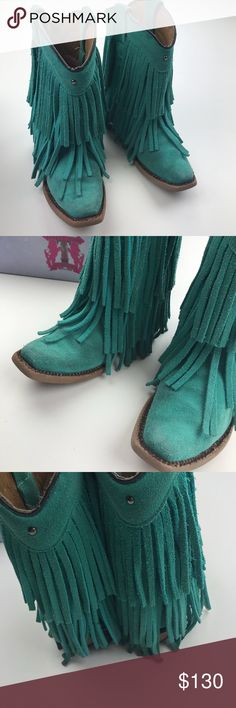 Tanner Mark suede fringe turquoise agave boots 11 Suede fringe in turquoise agave color size 11, leather sole in brown finish. All handcrafted leather. My daughter couldn't stop getting compliments on these boots, comfy for kids feet, snip toe, horma 969. Fringe in excellent condition, front and back All in perfect shape. tanner mark Shoes Boots