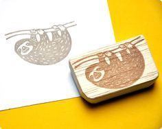 sloth stamp by memi the rainbow