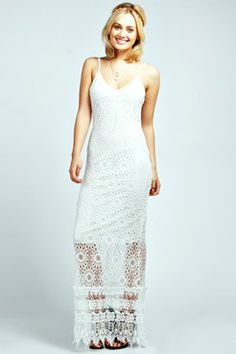 Elise Strappy Crochet Maxi Dress at boohoo.com