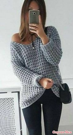 2017 NEW Autumn Winter Women Loose Soild Color V Neck Plus Size Pullover Knitted Shirt Off Shoulder Long Sleeve Sweaters Knitting Designs, Knitting Patterns Free, Free Pattern, Casual Sweaters, Sweaters For Women, Cozy Sweaters, Crochet Clothes, Pulls, Knitwear