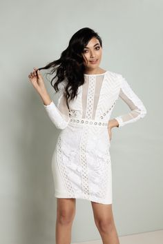 White prom dress with mesh detailing