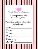 black and pink striped printable princess baby shower invitations