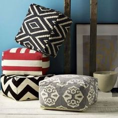 Make your own West Elm floor poufs from $3 IKEA rugs. | 35 Money-Saving Home Decor Knock-Offs - and 34 other money saving knock offs #DIY CRAFTS #HAWA.