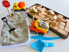 Bricklaying for Kids. Invitation to Play with playdough and blocks!