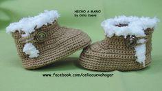 5bae915bc Bota bebé crochet 0-3 meses de Hecho a Mano by Celia