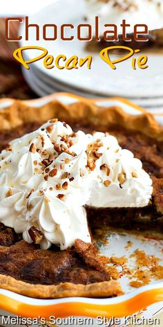 Enjoy this bourbon infused Chocolate Pecan Pie slightly warm with a generous dollop of whipped cream or vanilla ice cream for dessert.