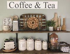 Open kitchen shelving. Rae Dunn Collection