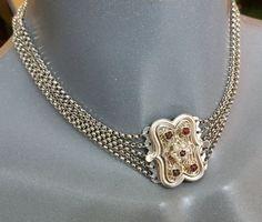 835 Kropfkette Trachtenkette  Granat Perlen SK414 von Schmuckbaron
