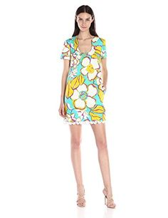 Trina Turk Women's Musita Ana Capri Floral Dress with Fringe, Azure, 0- #fashion #Apparel find more at lowpricebooks.co - #fashion