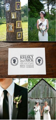 I Love the idea of hanging picture frames of old wedding photos of both side of the family on a tree!