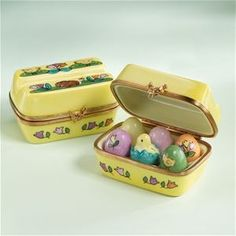 Limoges Yellow Egg Carton Rabbit Chicken Box