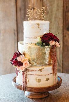 Semi naked and gold leaf wedding cake by Sablée!