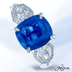 "Platinum #sapphire ring featuring a beautiful cushion shaped 3.78 ct ""no-heat""…"