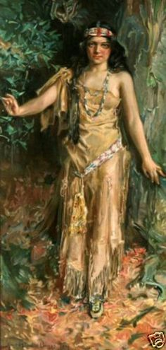 Pocahontas-Indian-Maiden-Howard-Chandler-Christy-circa-1917-Fine-Giclee