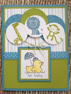 Stampin' Up! Handmade card. Baby Shower for my family friend's little boy. Come to my stamp camp or stamp by mail! Kristenmkhan@gmail.com