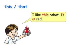 I like this robot. It is red. this / that. I like that robot. It is red. This / that.