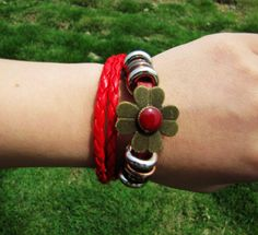 Red Leather Woven with Copper Flower Women or Girl by braceletcool, $7.50