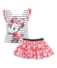 This Black Minnie Mouse Top & Red Skirt - Toddler & Girls by Minnie Mouse is perfect! #zulilyfinds