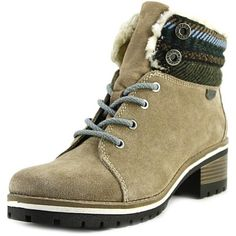 Anne Klein Women's Langstyn Suede Snow Boot ($44) ❤ liked on Polyvore featuring shoes, boots, lace-up boots, anne klein boots, suede lace-up boots, lace-up bootie and cold weather boots