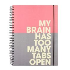 Too many tabs slogan 10 subject notebook - Lined Paper Notebooks - Notebooks - Stationery University Essentials, A4 Notebook, Small Notebook, Diy Straw, School Stationery, Back To School Supplies, Office Essentials, Paperchase, Notebooks