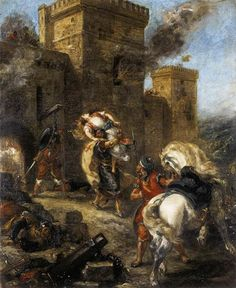 Rebecca Kidnapped by the Templar, Sir Brian de Bois-Guilbert, 1858 - Eugene Delacroix