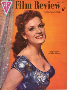 "Maureen O'Hara on the cover of ""ABC Film Review"" magazine, USA, June 1957."