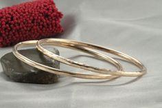 2 Stacking Bracelet 14k Gold handmade Bangle 14k by LIRANSHANI