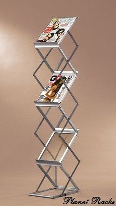 Planet Racks Portable Folding Magazine Literature Display w/ Case - Silver