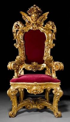 Magnificent Sculpted and Engraved Throne Chair Firenze, Century Aristocratic Furniture Design King On Throne, Royal Throne, Throne Room, Antique Chairs, Antique Furniture, French Furniture, Royal Chair, King Chair, Royal Furniture