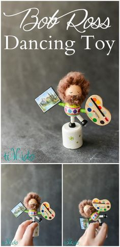 Tutorial for making a Bob Ross miniature collapsing & dancing wooden toy.