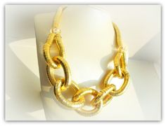 Chunky Gold Plate Chain Link Necklace by SimplyPrettyJewels on Etsy