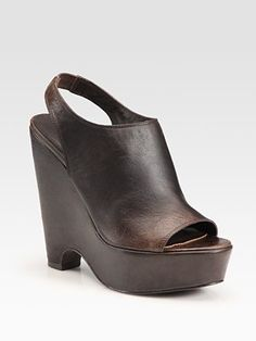 Elizabeth and James Leather Peep Toe Slingback Wedges. Brown ones are on sale one size up from me... Should I do it?