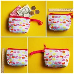NEW BEAUTIFUL COSMETICS COIN BAG PURSE COTTON ELEPHANT PATTERN THAILAND HANDMADE #Unbranded #CoinWallet