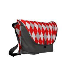 Argyle Pattern Messenger Bag Red Charcoal Gray