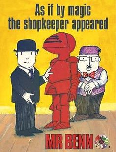 Mr Benn was my favourite show and I failed to realise how few episodes there actually were of this genius creation. 1980s Childhood, My Childhood Memories, Memories Jar, Cartoon Tv Shows, Cartoon Characters, Pop Art, Kids Tv, My Memory, Art Design