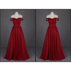 Tulle Sweetheart Evening Gown Long Elegant Off the Shoulder Open Back... (225 CAD) ❤ liked on Polyvore featuring dresses, gowns, red formal dresses, long red evening dress, long red gown, formal evening gowns and long prom dresses